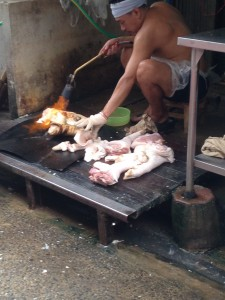 Burning Pig Feet